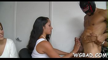 receive stud darling pussy breasty by her spooned Gag shemale female