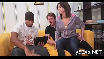 gaggers juicy ghetto ms Asuka screams with two big cocks in her