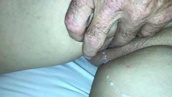 couple fun having old Sexy blonde gives footjob
