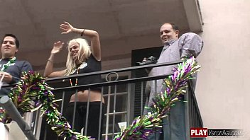 flashing mardi gras at Hot blonde fucked on camera to pay her rent